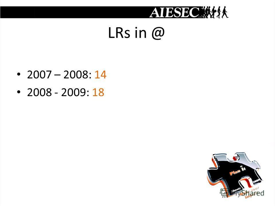 LRs in @ 2007 – 2008: 14 2008 - 2009: 18