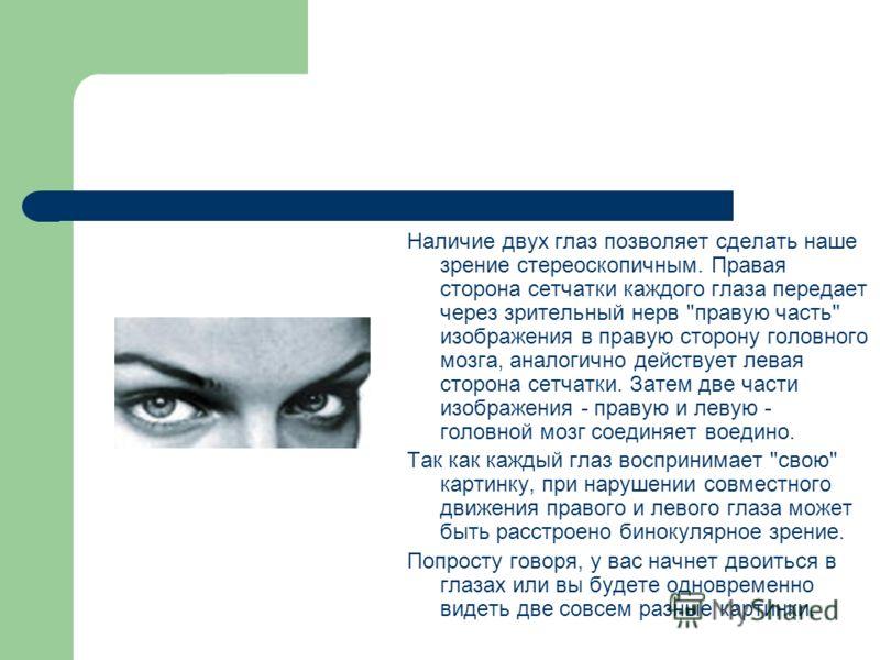 Наличие двух глаз позволяет сделать наше зрение стереоскопичным. Правая сторона сетчатки каждого глаза передает через зрительный нерв