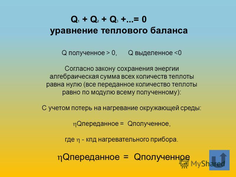 Q 1 + Q 2 + Q 3 +...= 0 уравнение теплового баланса Qпереданное = Qполученное Q полученное > 0, Q выделенное