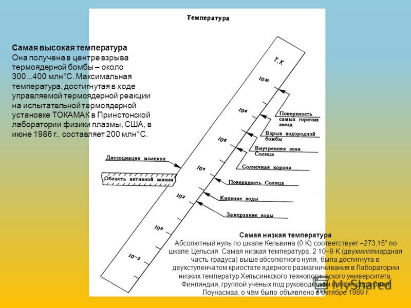 Самая низкая температура Абсолютный нуль по шкале Кельвина (0 K) соответствует –273,15° по шкале Цельсия. Самая низкая температура, 2·10–9 K (двухмиллиардная часть градуса) выше абсолютного нуля, была достигнута в двухступенчатом криостате ядерного р