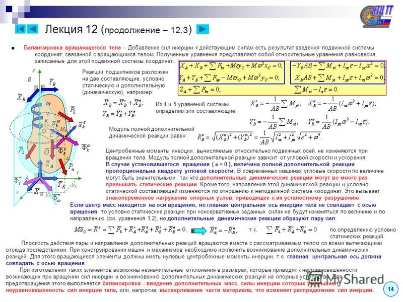 Лекция 12 ( продолжение – 12.3 ) Балансировка вращающегося тела – Добавление сил инерции к действующим силам есть результат введения подвижной системы координат, связанной с вращающимся телом. Полученные уравнения представляют собой относительные ура