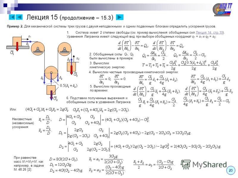 Лекция 15 ( продолжение – 15.3 ) 2323 2. Обобщенные силы Q 1, Q 2 были вычислены в примере: 3. Вычислим кинетическую энергию: Пример 2. Для механической системы трех грузов с двумя неподвижными и одним подвижным блоками определить ускорения грузов. 1