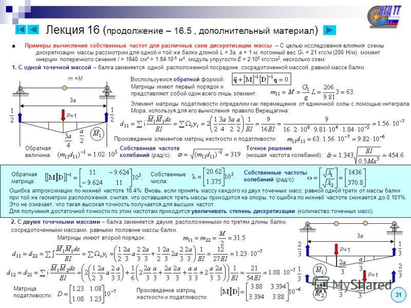Лекция 16 ( продолжение – 16.5, дополнительный материал ) 31 Примеры вычисления собственных частот для различных схем дискретизации массы – С целью исследования влияния схемы дискретизации массы рассмотрим для одной и той же балки длиной L = 3а, a =