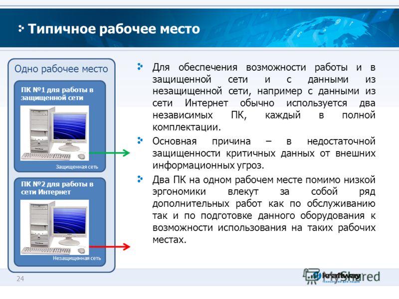 24 Одно рабочее место Типичное рабочее место Для обеспечения возможности работы и в защищенной сети и с данными из незащищенной сети, например с данными из сети Интернет обычно используется два независимых ПК, каждый в полной комплектации. Основная п
