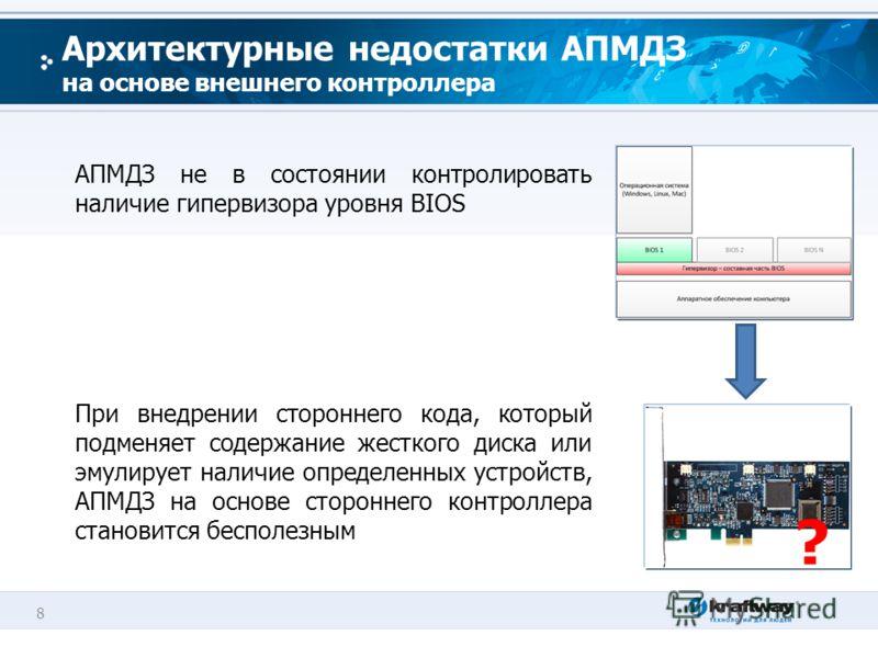 8 Архитектурные недостатки АПМДЗ на основе внешнего контроллера АПМДЗ не в состоянии контролировать наличие гипервизора уровня BIOS При внедрении стороннего кода, который подменяет содержание жесткого диска или эмулирует наличие определенных устройст
