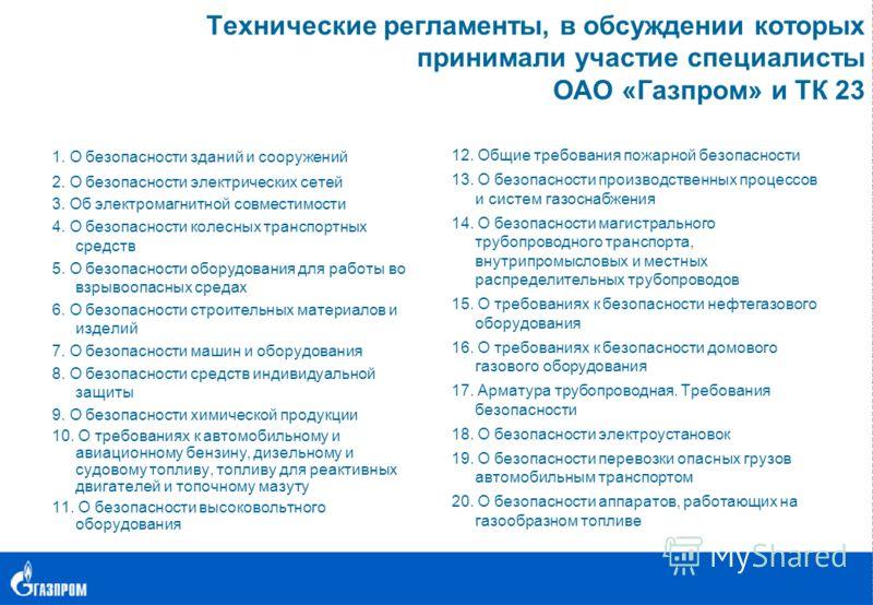 Технические регламенты, в обсуждении которых принимали участие специалисты ОАО «Газпром» и ТК 23 1. О безопасности зданий и сооружений 2. О безопасности электрических сетей 3. Об электромагнитной совместимости 4. О безопасности колесных транспортных