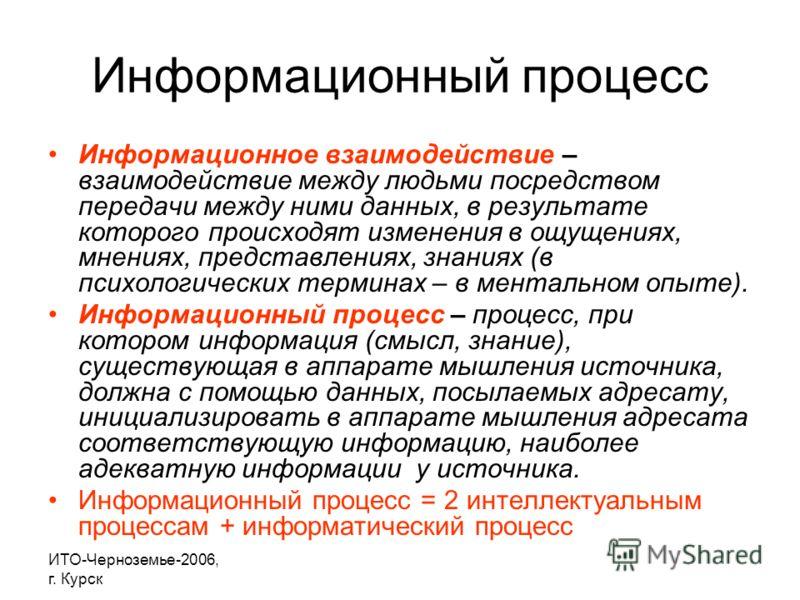 ИТО-Черноземье-2006, г. Курск Информационный процесс Информационное взаимодействие – взаимодействие между людьми посредством передачи между ними данных, в результате которого происходят изменения в ощущениях, мнениях, представлениях, знаниях (в психо