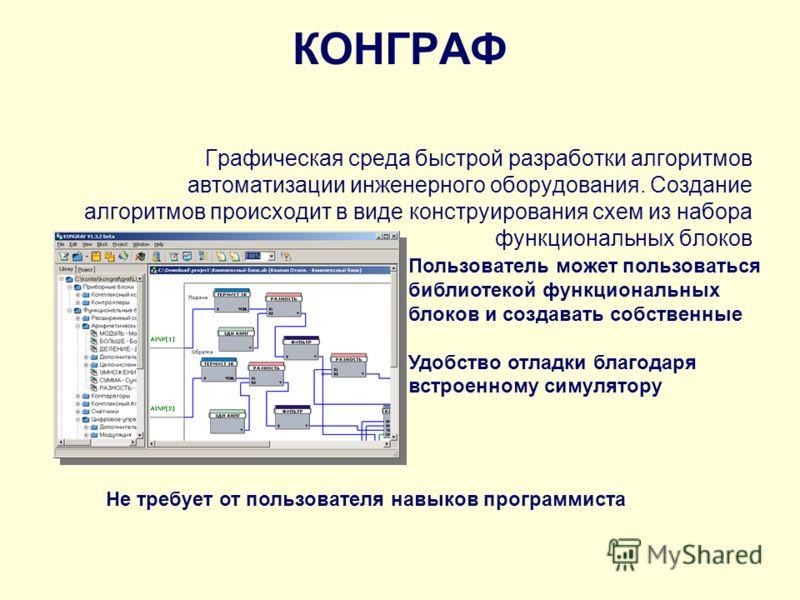 КОНГРАФ Графическая среда быстрой разработки алгоритмов автоматизации инженерного оборудования. Создание алгоритмов происходит в виде конструирования схем из набора функциональных блоков Пользователь может пользоваться библиотекой функциональных блок
