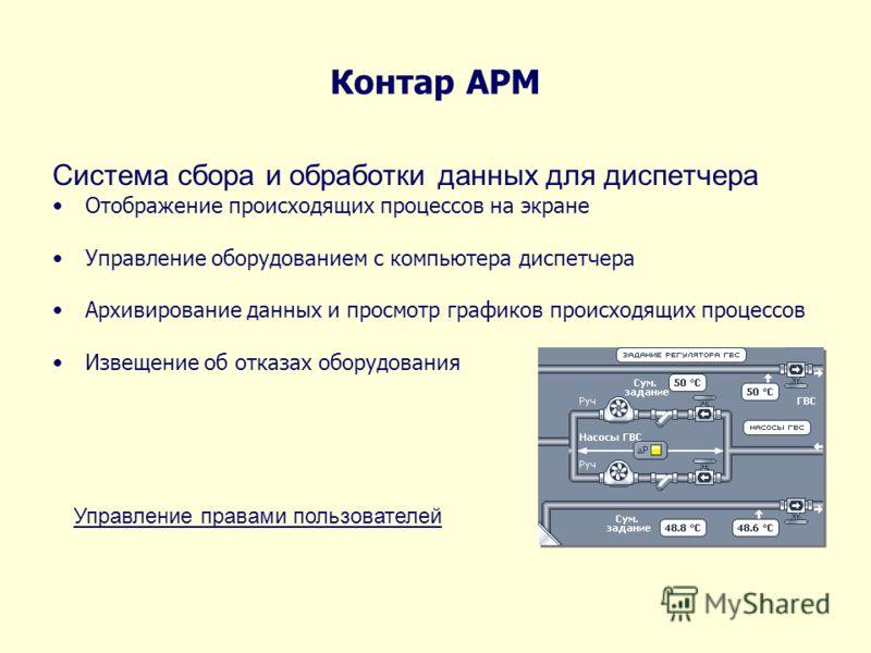Контар АРМ Система сбора и обработки данных для диспетчера Отображение происходящих процессов на экране Управление оборудованием с компьютера диспетчера Архивирование данных и просмотр графиков происходящих процессов Извещение об отказах оборудования