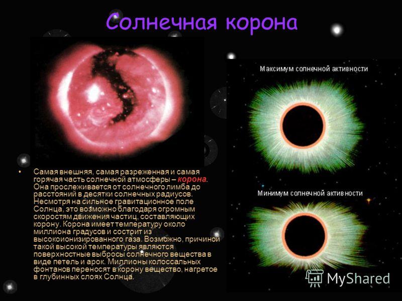 Под поверхностью Солнце – раскаленный газовый шар, температура в центре которого очень высока, настолько, что там могут происходить ядерные реакции. В центре Солнца температура достигает 15 миллионов градусов, а давление в 200 миллиардов раз выше, че
