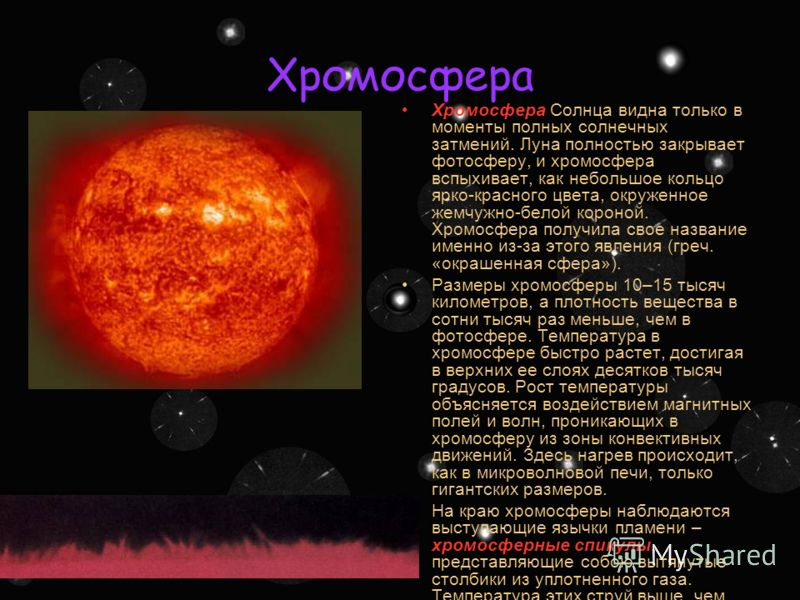 Фотосфера Наблюдаемое излучение Солнца возникает в его тонком внешнем слое, который называется фотосферой. Толщина этого слоя 0,001R = 700 км. На поверхности Солнца можно разглядеть много деталей. Вся фотосфера Солнца состоит из светлых зернышек, пуз