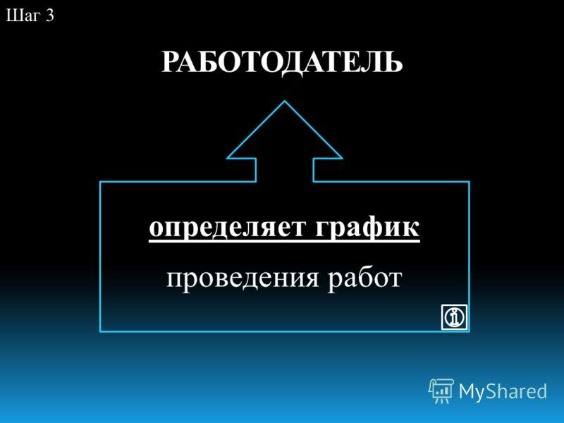 РАБОТОДАТЕЛЬ Шаг 3 определяет график проведения работ