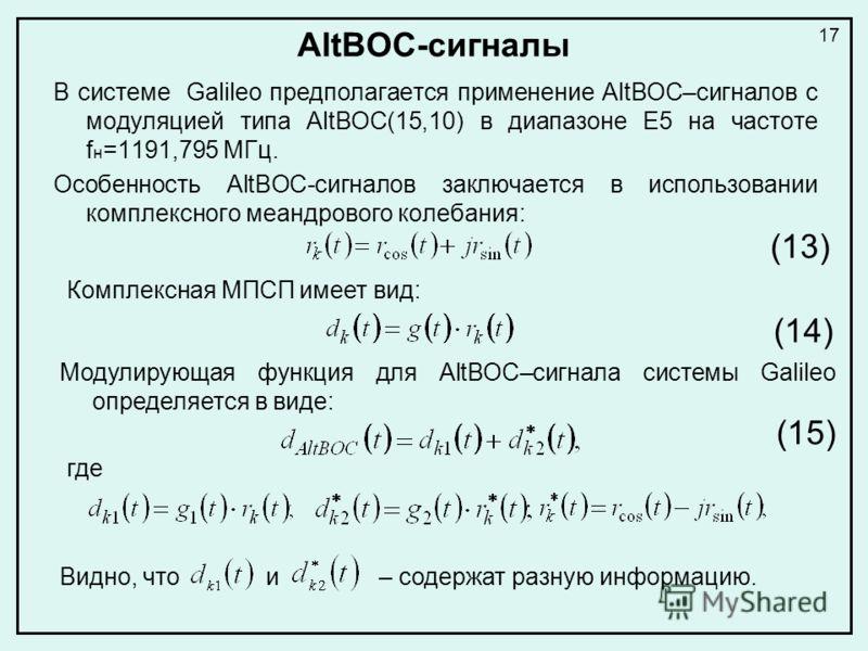AltBOC-сигналы В системе Galileo предполагается применение AltBOC–сигналов с модуляцией типа AltBOC(15,10) в диапазоне E5 на частоте f н =1191,795 МГц. Особенность AltBOC-сигналов заключается в использовании комплексного меандрового колебания: Компле