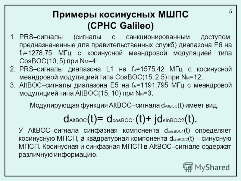 Примеры косинусных МШПС (СРНС Galileo) 1.PRS–сигналы (сигналы с санкционированным доступом, предназначенные для правительственных служб) диапазона Е6 на f н =1278,75 МГц с косинусной меандровой модуляцией типа CosBOC(10, 5) при N M =4; 2.PRS–сигналы