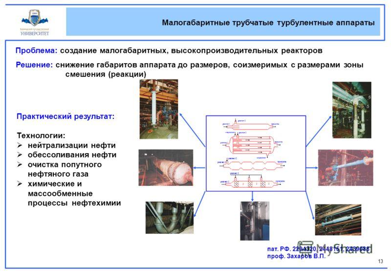 13 Малогабаритные трубчатые турбулентные аппараты Проблема: создание малогабаритных, высокопроизводительных реакторов Решение: снижение габаритов аппа