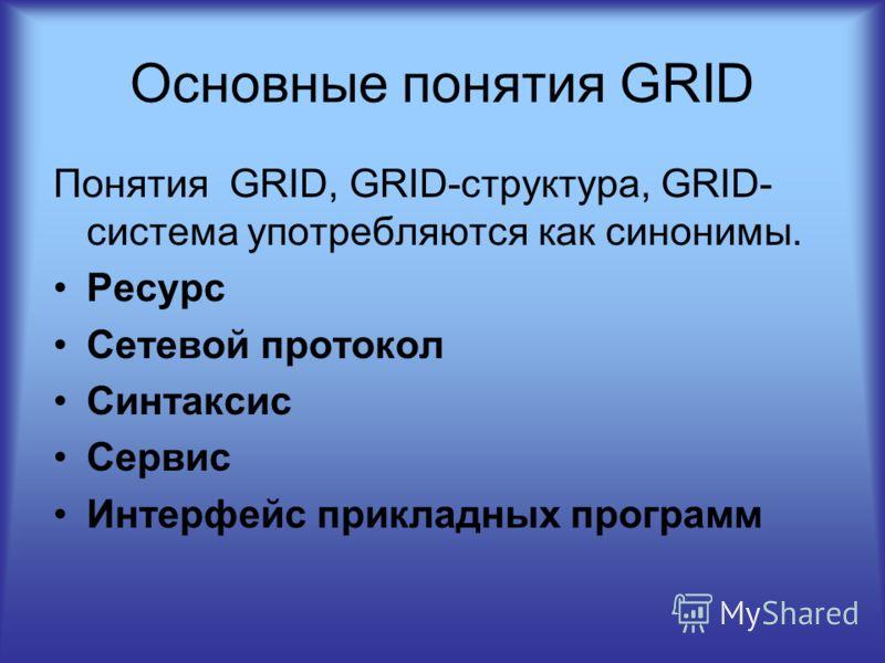 Основные понятия GRID Понятия GRID, GRID-структура, GRID- система употребляются как синонимы. Ресурс Сетевой протокол Синтаксис Сервис Интерфейс прикладных программ