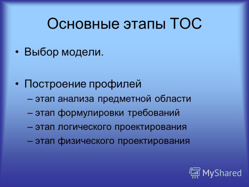 Основные этапы ТОС Выбор модели. Построение профилей –этап анализа предметной области –этап формулировки требований –этап логического проектирования –этап физического проектирования