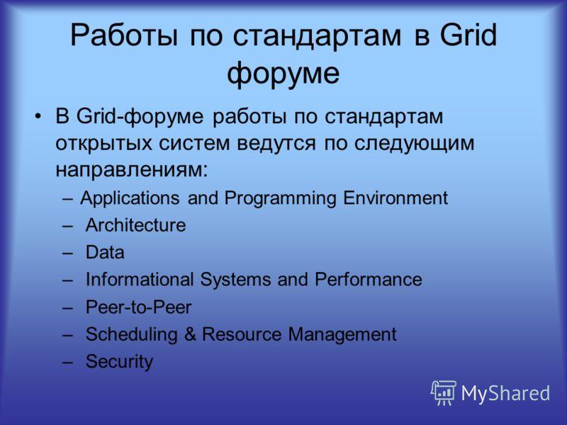 Работы по стандартам в Grid форуме В Grid-форуме работы по стандартам открытых систем ведутся по следующим направлениям: –Applications and Programming Environment – Architecture – Data – Informational Systems and Performance – Peer-to-Peer – Scheduli