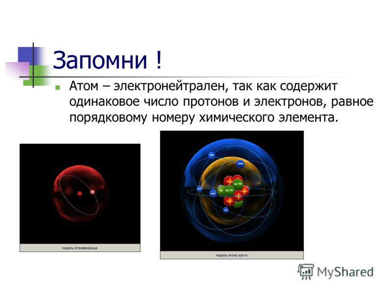 Запомни ! Атом – электронейтрален, так как содержит одинаковое число протонов и электронов, равное порядковому номеру химического элемента.
