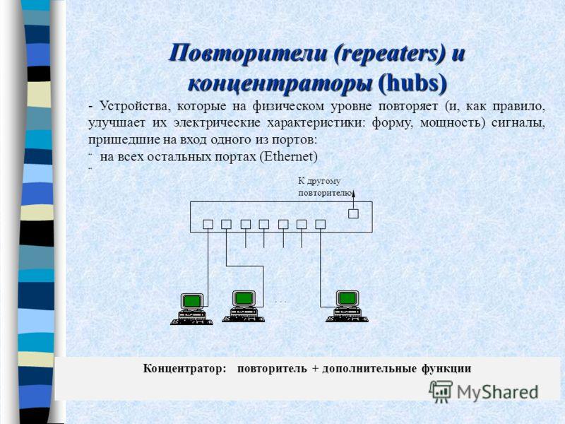 Повторители (repeaters) и концентраторы (hubs) - Устройства, которые на физическом уровне повторяет (и, как правило, улучшает их электрические характеристики: форму, мощность) сигналы, пришедшие на вход одного из портов: на всех остальных портах (Eth