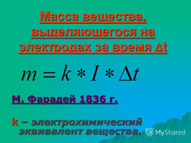Масса вещества, выделяющегося на электродах за время Δ t М. Фарадей 1836 г. k – электрохимический эквивалент вещества.