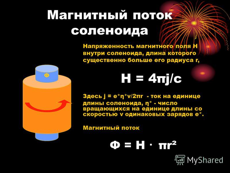 Магнитный поток соленоида Ф Напряженность магнитного поля Н внутри соленоида, длина которого существенно больше его радиуса r, Н = 4πj/с Здесь j = е*η*v/2πr - ток на единице длины соленоида, η* - число вращающихся на единице длины со скоростью v один