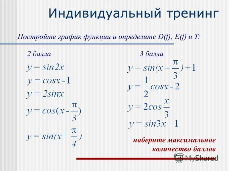 Индивидуальный тренинг Постройте график функции и определите D(f), E(f) и T: 2 балла3 балла наберите максимальное количество баллов