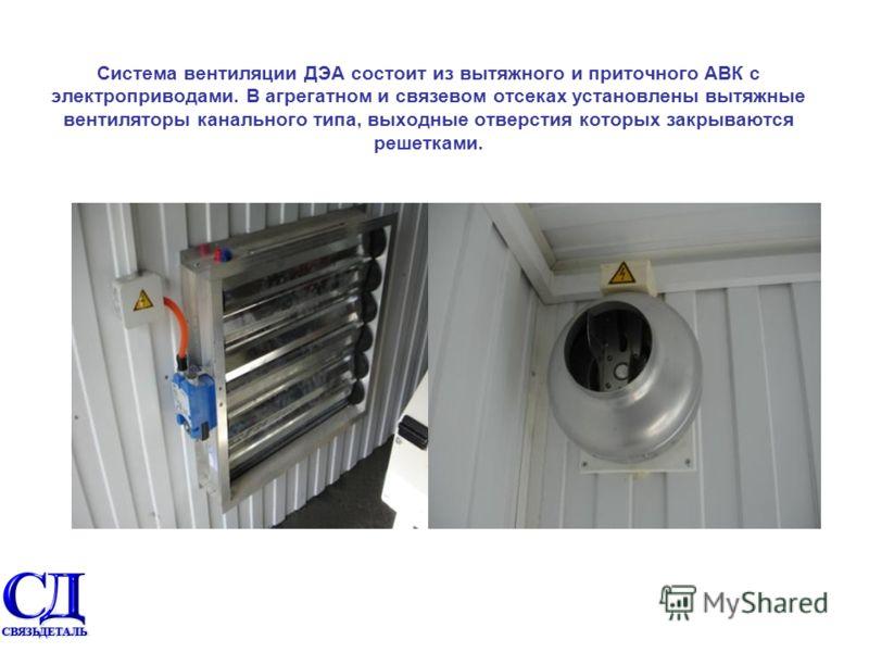 Система вентиляции ДЭА состоит из вытяжного и приточного АВК с электроприводами. В агрегатном и связевом отсеках установлены вытяжные вентиляторы канального типа, выходные отверстия которых закрываются решетками.