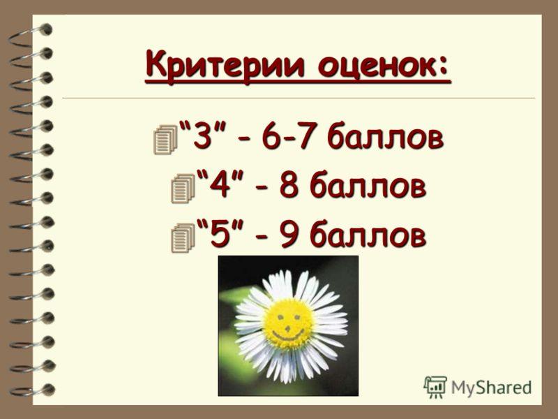 Критерии оценок: 4 3 - 6-7 баллов 4 4 - 8 баллов 4 5 - 9 баллов