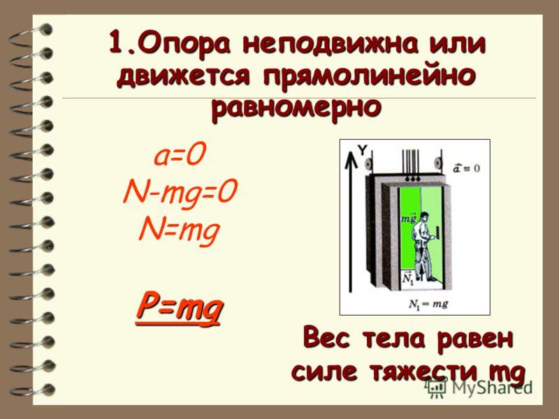 1.Опора неподвижна или движется прямолинейно равномерно a=0 N-mg=0 N=mgP=mg Вес тела равен силе тяжести mg