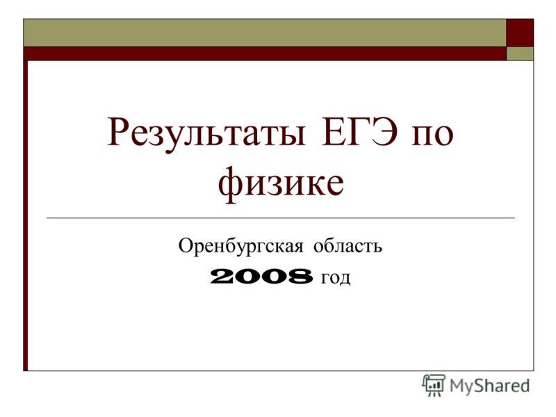 Результаты ЕГЭ по физике Оренбургская область 2008 год