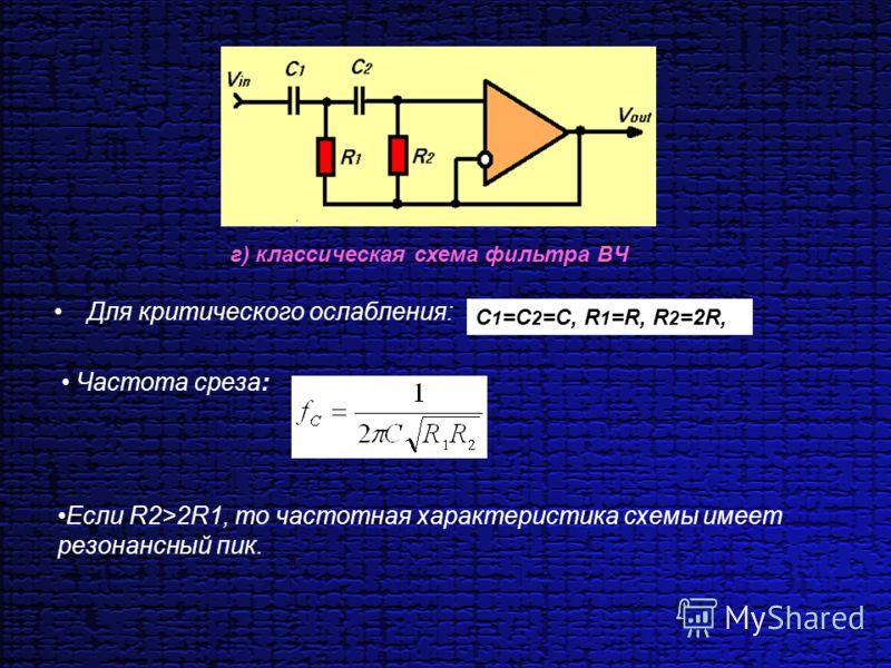 Для критического ослабления: г) классическая схема фильтра ВЧ C 1 =С 2 =С, R 1 =R, R 2 =2R, Частота среза: Если R2>2R1, то частотная характеристика схемы имеет резонансный пик.