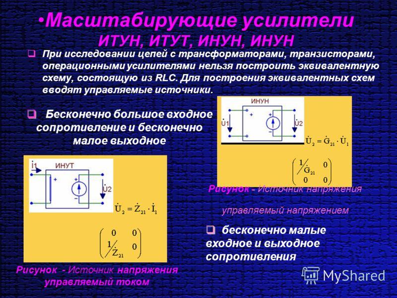 Масштабирующие усилители ИТУН, ИТУТ, ИНУН, ИНУН При исследовании цепей с трансформаторами, транзисторами, операционными усилителями нельзя построить эквивалентную схему, состоящую из RLC. Для построения эквивалентных схем вводят управляемые источники