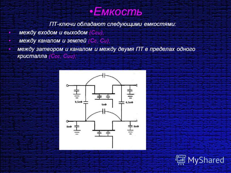 Емкость ПТ-ключи обладают следующими емкостями: между входом и выходом (С си ), между каналом и землей (С с, С и ), между затвором и каналом и между двумя ПТ в пределах одного кристалла (С сс, С ии );