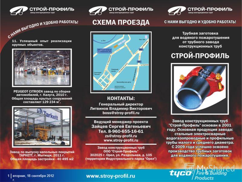 вторник, 18 сентября 2012 г. 1 www.stroy-profil.ru