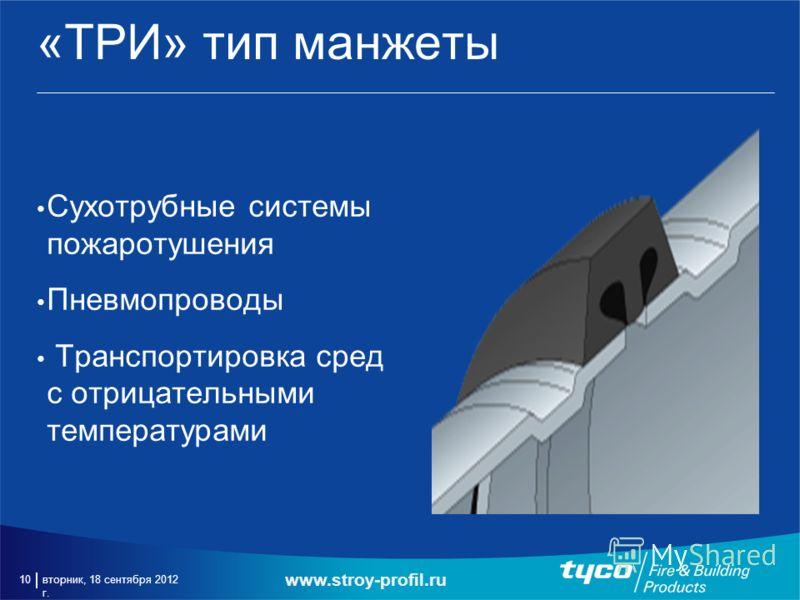 вторник, 18 сентября 2012 г. 10 «ТРИ» тип манжеты Сухотрубные системы пожаротушения Пневмопроводы Транспортировка сред с отрицательными температурами www.stroy-profil.ru