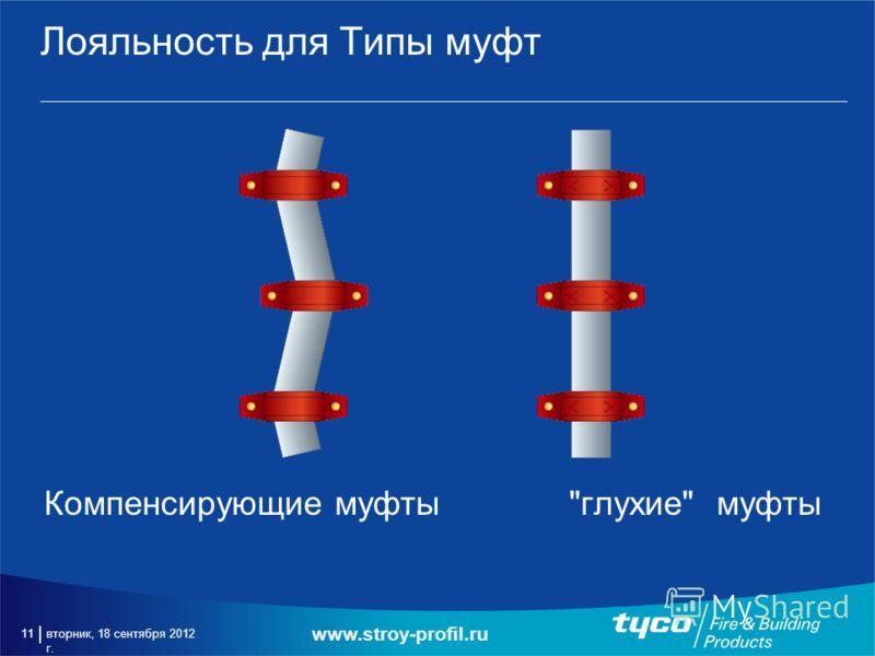 вторник, 18 сентября 2012 г. 11 Лояльность для Типы муфт Компенсирующие муфтыглухие муфты www.stroy-profil.ru