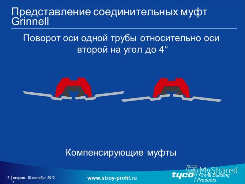 вторник, 18 сентября 2012 г. 15 Представление соединительных муфт Grinnell Поворот оси одной трубы относительно оси второй на угол до 4° Компенсирующие муфты www.stroy-profil.ru