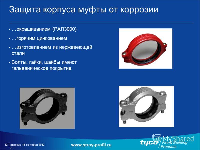 вторник, 18 сентября 2012 г. 32 Защита корпуса муфты от коррозии …окрашиванием (РАЛ3000) …горячим цинкованием …изготовлением из нержавеющей стали Болты, гайки, шайбы имеют гальваническое покрытие www.stroy-profil.ru