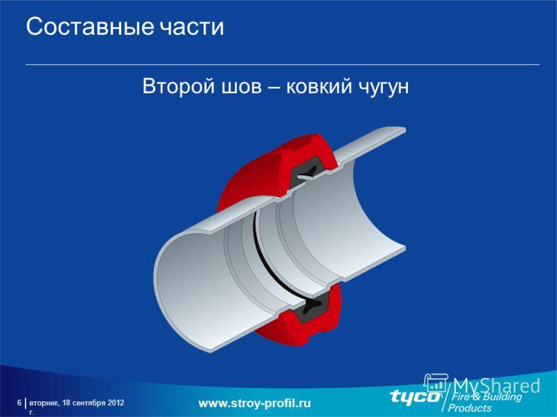 вторник, 18 сентября 2012 г. 6 Составные части Второй шов – ковкий чугун www.stroy-profil.ru