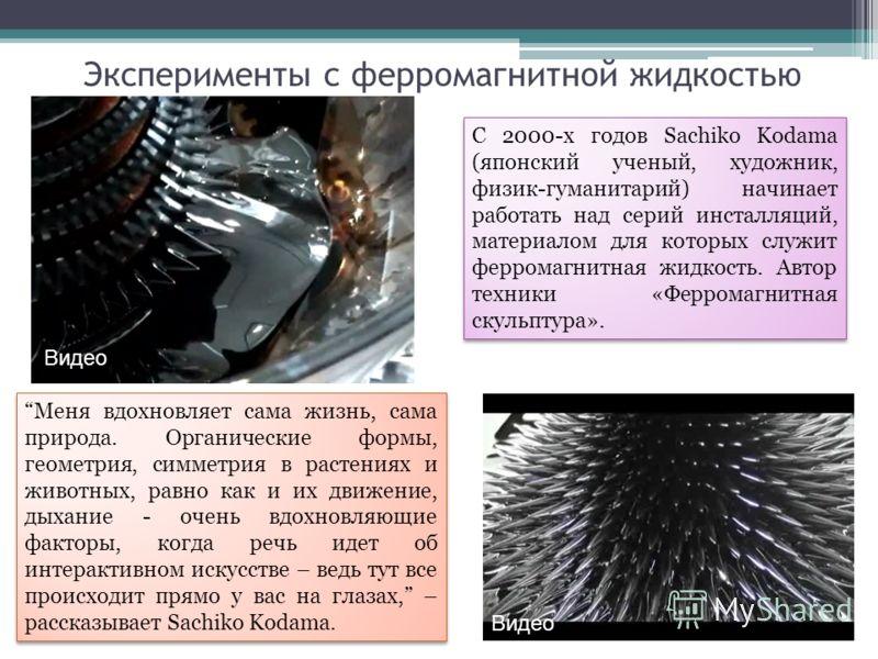 Эксперименты с ферромагнитной жидкостью С 2000-х годов Sachiko Kodama (японский ученый, художник, физик-гуманитарий) начинает работать над серий инсталляций, материалом для которых служит ферромагнитная жидкость. Автор техники «Ферромагнитная скульпт