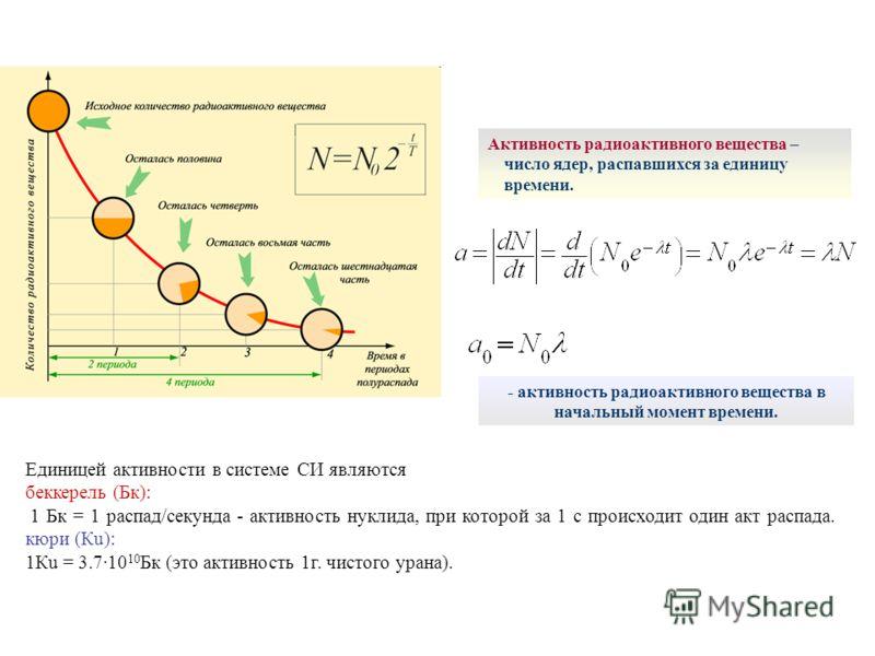 - активность радиоактивного вещества в начальный момент времени. Активность радиоактивного вещества – число ядер, распавшихся за единицу времени. Единицей активности в системе СИ являются беккерель (Бк): 1 Бк = 1 распад/секунда - активность нуклида,