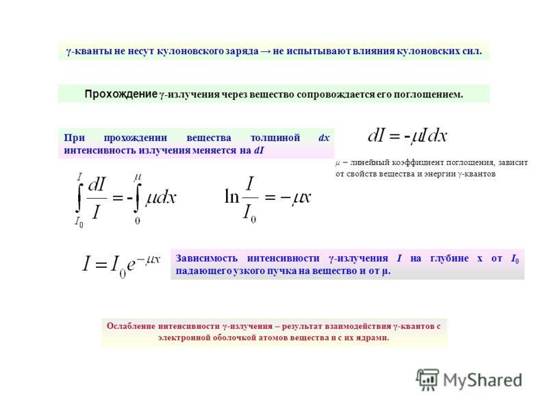 γ-кванты не несут кулоновского заряда не испытывают влияния кулоновских сил. При прохождении вещества толщиной dх интенсивность излучения меняется на dI Прохождение γ-излучения через вещество сопровождается его поглощением. μ – линейный коэффициент п