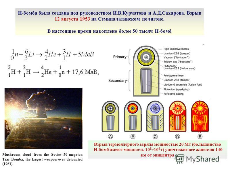 Mushroom cloud from the Soviet 50-megaton Tsar Bomba, the largest weapon ever detonated (1961) Взрыв термоядерного заряда мощностью 20 Мт (большинство Н-бомб имеют мощность 10 5 ÷10 6 т) уничтожит все живое на 140 км от эпицентра Н-бомба была создана