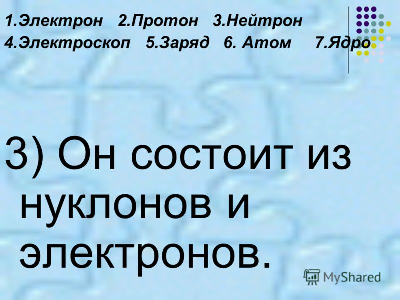 1.Электрон 2.Протон 3.Нейтрон 4.Электроскоп 5.Заряд 6. Атом 7.Ядро 3) Он состоит из нуклонов и электронов.