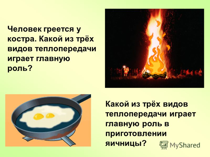 Человек греется у костра. Какой из трёх видов теплопередачи играет главную роль? Какой из трёх видов теплопередачи играет главную роль в приготовлении яичницы?