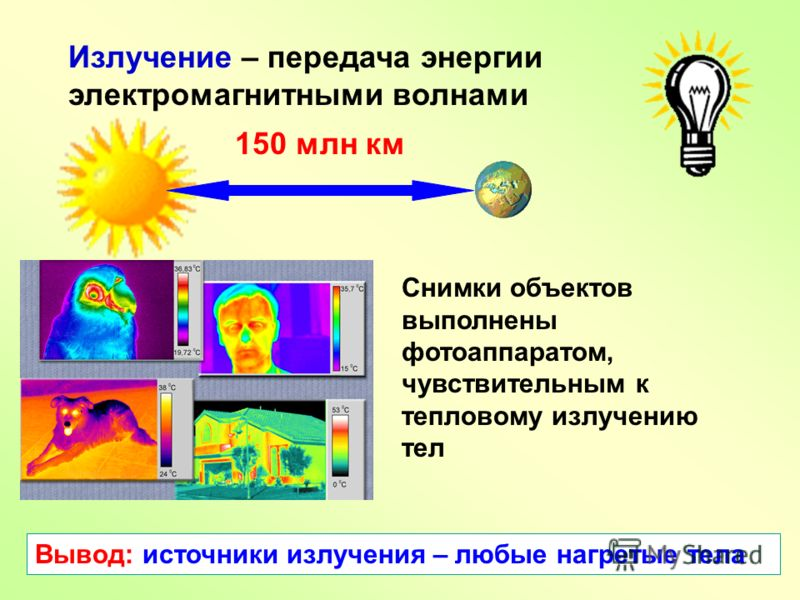 Излучение – передача энергии электромагнитными волнами 150 млн км Снимки объектов выполнены фотоаппаратом, чувствительным к тепловому излучению тел Вывод: источники излучения – любые нагретые тела