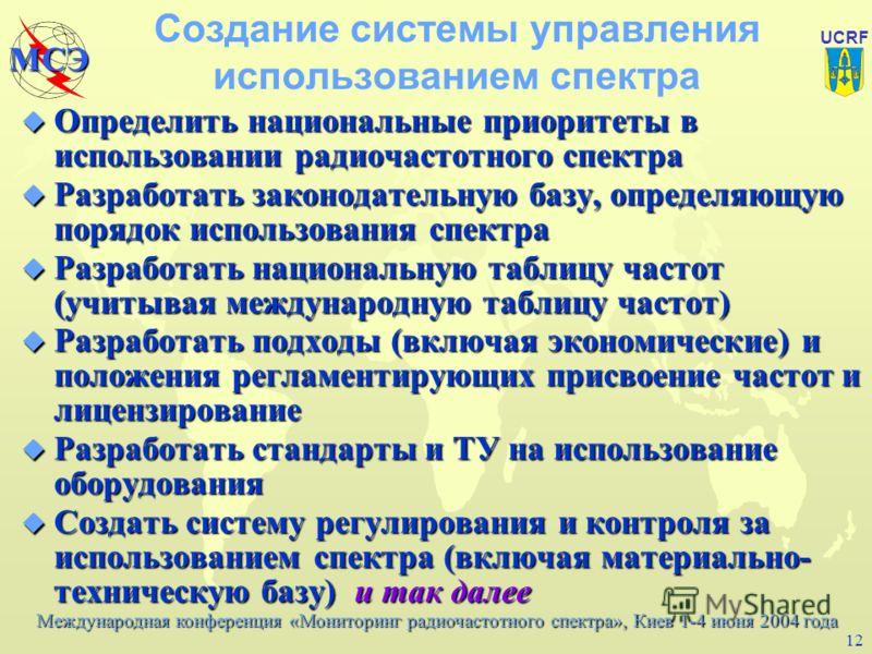 Международная конференция «Мониторинг радиочастотного спектра», Киев 1-4 июня 2004 года МСЭ UCRF 11