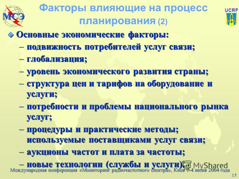 Международная конференция «Мониторинг радиочастотного спектра», Киев 1-4 июня 2004 года МСЭ UCRF 14 Факторы влияющие на процесс планирования (1) u Основные политические и юридические факторы: –национальный закон о связи и национальная таблица распред