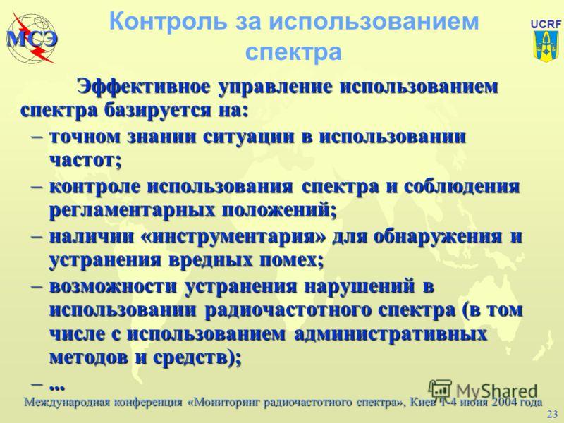 Международная конференция «Мониторинг радиочастотного спектра», Киев 1-4 июня 2004 года МСЭ UCRF 22 Другие задачи радиоконтроля (2) На службу контроля зачастую также возлагаются задачи, непосредственно не вытекающие из Регламента радиосвязи: оказание